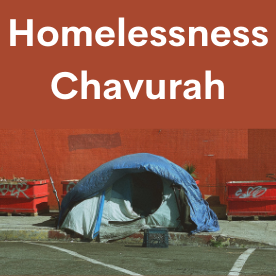 Text reads Homelessness Chavurah. At the bottom, a tent.