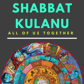 text reads shabbat kulanu all of us together over a grey background. on the foreground, a picture of the oneg floor.