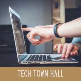 """A hand points at a computer screen, helping someone out. At the bottom, text reads """"tech town hall."""""""