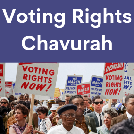 "Text reads Voting Rights Chavurah. Photo at bottoms is of demonstrators at the March on Washington 1963 holding signs that say ""Voting Rights Now."""