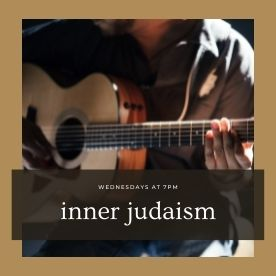 """Text reads """"Wednesdays at 7pm, inner Judaism."""" In the background, a person plays guitar."""
